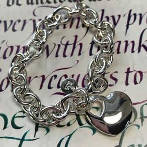 "🌼Beautiful 925 Sterling Heart Bracelet 7 1/2""🌼"